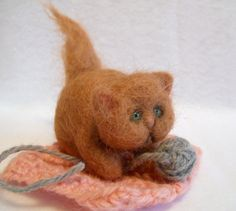 SALE Pumpkin the Fall Kitty in Autumn Orange Wool Needle Felted Cat with Glass Eyes Blanket and Yarn Ball Tibetan