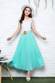 Waisted chiffon lace Slim was thin pleated skirts big swing length skirt long section
