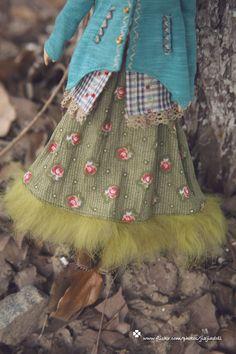 jiajiadoll  green flower fur long dress fits momoko by jiajiadoll, $18.00