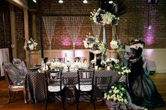 Provence Linen in Silver #silverlinen #luxecollection by @modernlaweddings #dslonthemove Glamorous Reception Decor With A Punk Rock Kick | Bridal and Wedding Planning Resource for California Weddings | California Bride Magazine