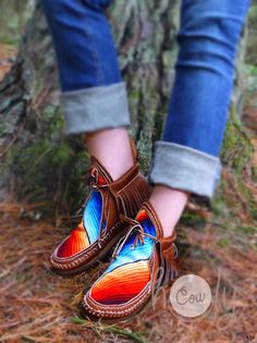 Moccasin Moccasins Serape Moccasin Boots Womens by HolyCowproducts Moccasins Mens, Leather Moccasins, Leather Boots, Brown Leather, Leather Sandals, Boots Boho, Hippie Boots, Cowgirl Boots, Western Boots