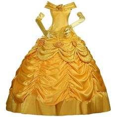Cosrea Cosplay Beauty And Beast Princess Belle Disney Park Classic... ($95) ❤ liked on Polyvore featuring costumes, yellow costumes, princess belle costume, princess halloween costumes, disney halloween costumes and satin costume