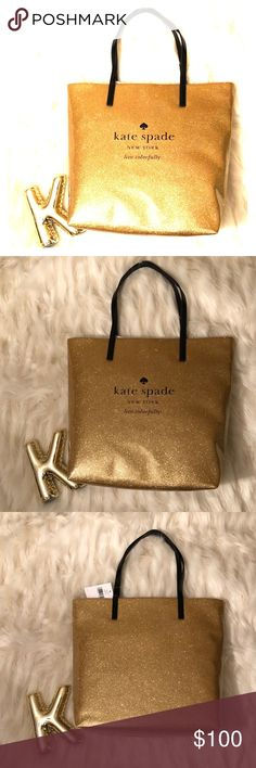 "KATE SPADE gold sparkle Bon Shopper tote New with tags. Bon shopper shoulder bag in sparkling patent pvc printed kate spade new york signature & ""live colorfully' Open top. Custom woven quick & curious lining w interior zip and double slide pockets 13.5""h x 13.7""w x 5.1""d drop length: 9'' kate spade Bags Totes"
