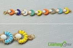 make the rest part of the colorful 2-hole seed bead flower bracelet