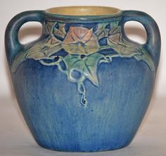 Beautiful Newcomb College handled vase decorated with morning glory by Henrietta Bailey