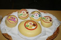 Tetilla and Arzua-Ulloa cheeses from Galicia.  Photo by Gerry Dawes©2010. gerrydawes@aol.com / Facebook / Twitter.