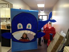 VBS Crafts Jonah and the Whale Bible Story Props   *4x8 foam board (plastic removed) *Cut 2 feet off of the 8 ft side, making it 4x6 feet (this is what you will use to get the tale) *cut out the mouth in one big piece (you will use this for fins *use spray adhesive to apply construction paper  hot glue to attach the tail (once painted)   @Kassy Wooley