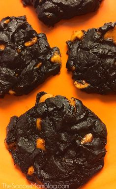 The perfect Halloween and Thanksgiving holiday treat! These Chocolate Avocado Pumpkin Cookies w/Salted Caramel Chips are SO ooey-gooey and decadent...but healthy too! (They're flourless and full of nutrients!)