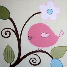 Nursery Art  Happy Birds Set of 3 Paintings by MurrayDesignShop, $245.00