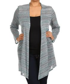 This Teal Marled Open Cardigan - Plus by Chris & Carol is perfect! #zulilyfinds