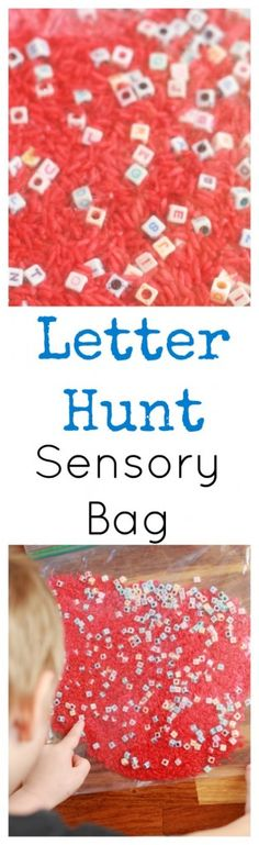 Letter Hunt Sensory Bag. Great for learning the alphabet, sounding out words and spelling. (Bottle Bag Sensory Play)
