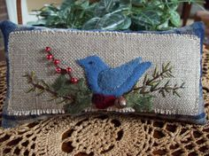 Christmas Blue Bird Shelf Pillow Tuck by rustiquecat on Etsy Penny Rug Patterns, Wool Applique Patterns, Sewing Appliques, Bird Patterns, Applique Designs, Craft Patterns, Throw Cushions, Pillows, Cross Stitch Material