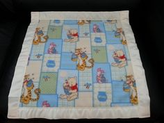 This Fleece 22 inches x 22 inches blanket has Winnie the Pooh on it and is made from 100% Polyester Fleece with a two inch satin trim around the blanket (all our blanket trims and fleeces are 100% Polyester). We will personalize the blanket which is included in the price with the person's first name. If you have an idea of a different color trim then the one shown, just email us your suggestions. We Guarantee Quality in our blankets.