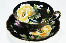 Antique 1940s CHUGAI Occupied Japan Hand Painted Black Flowers Tea Cup Saucer
