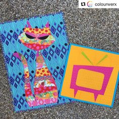 """#Repost @colourwerx ・・・ ✔️ Tula """"Tabby Road"""" ModCat block done and ready for #quiltmarket - I also found an orphaned Mod TV block so I finished that one up for display as well !  Whew! Now off to pack it all up!  We'll see you in St."""