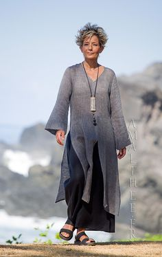 Asian style lovers: side slit charcoal linen gauze tunic Aozai from Amalthee -:- AMALTHEE -:- n° 3503