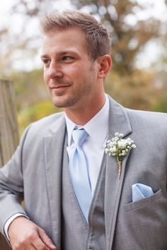 Grey Suit with Light Blue Tie and Baby's Breath Boutonniere|Powder Blue  White Shabby Chic Wedding at Davies Manor Plantation|Photographer:  Michael Allen Photography
