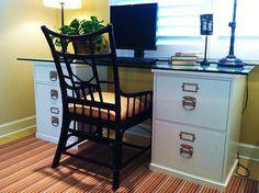 Easy DIY Desk Idea With Ugly File Cabinet...OO Good Idea!