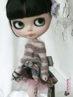 Stripes sweater with flower for Blythe Pullip... by Cangaway