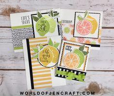 Lemon Zest Online Card Class Instructions - World of JenCraft Lemon Blossoms, Cute Fruit, Oranges And Lemons, Lemon Slice, Craft Sale, Stamping Up, Recipe Cards, Your Cards, Cardmaking