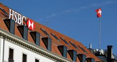 A HSBC logo at a Swiss branch of the bank, in Geneva.