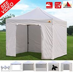 AbcCanopy 10x10 EZ Pop up Canopy Tent Instant Shelter Commercial Portable Market Canopy with Matching Sidewalls Weight Bags Roller Bag bonus 1x screen wall and 1x half wall WHITE * Read more  at the image link. This is an Amazon Affiliate links.