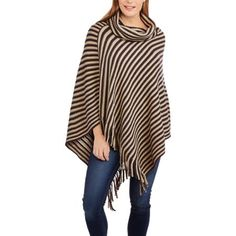 Allison Brittney Women's Cowl Neck Fringe Poncho