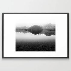 Buy Black And White Minimal Mountain Lake Landscape Framed Art Print by joshuasmallphotography. Worldwide shipping available at Society6.com. Just one of millions of high quality products available. Framed Wall Art, Framed Art Prints, Minimalism, Mountain, Wall Decor, Tapestry, Black And White, Landscape, Nature