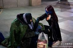There is a Mysterious Female Superhero that Helps Beijing's Poor. She calls herself the 'Chinese Redbud Woman'. She has been spotted several times in Beijing Bizarre News, Weird News, Crazy People, Other People, Real Superheroes, Female Superhero, Strange Photos, Warm Outfits, Call Her