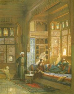 Here is a painting of an Ottoman house in Cairo, before the influence of Western styles, by Frank Dillon (1823-1909).