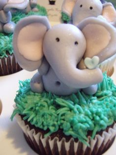 Elephant Baby shower cupcakes  By ThePurpleKupcakebyKrystle on CakeCentral.com