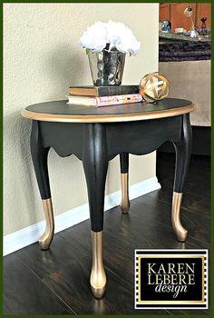 Vintage Furniture Black Gold Nightstand/Side Table/End Table - Vintage Hand Painted Black Gold Furniture, Western Furniture, Refurbished Furniture, Recycled Furniture, Table Furniture, Rustic Furniture, Furniture Makeover, Vintage Furniture, Furniture Refinishing