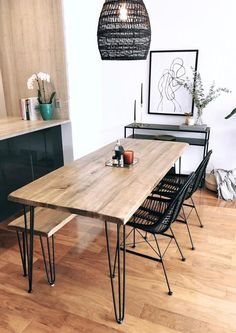 Reclaimed Wood & Metal Dining Table - home/home Hairpin Dining Table, Dining Table With Bench, Reclaimed Wood Dining Table, Wooden Dining Tables, Modern Dining Table, Kitchen Dining, Narrow Dining Room Table, Industrial Dining Tables, Small Dining Table Apartment