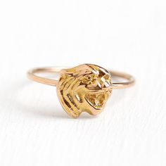 Antique Tiger Ring 14k Rosy Yellow Gold Figural Stick Pin Cat Jewelry 72fa47f64b59