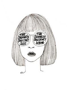 line drawing - illustration Sad Drawings, Tumblr Drawings, Indie Drawings, Aesthetic Drawings, Doodle Drawings, Art Watercolor, Drawn Art, Art Plastique, Line Drawing