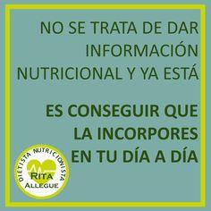 Tener acceso a información sobre #nutrición, #alimentaciónsaludable y #salud, a día de hoy, no es un problema. ⠀ Sin embargo, conocer la parte teórica de la nutrición no suele ser suficiente para conseguir cambios en los #habitos de la mayoría de la población. Y por ello, en el ámbito de la consulta y la educación nutricional, tenemos un gran reto: conseguir que incorporen esos conocimientos a través de acciones, conductas y hábitos. Dietitian, Healthy Nutrition, Get Skinny, Getting To Know, Diets