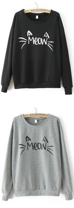 Cute Letters Print  Sweatshirt. Black or grey color at romwe.com. Enjoy 60% off 1st order!