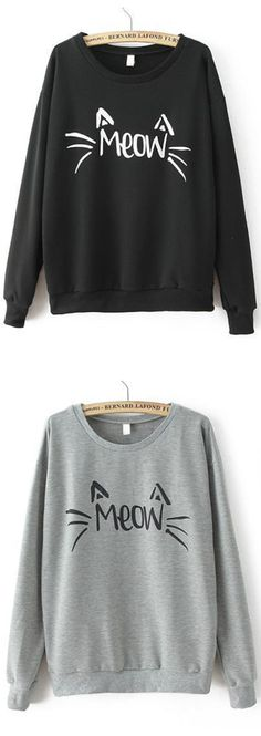 Cute Letters Print  Sweatshirt. Black or grey color at romwe.com. Enjoy 60% off 1st order!
