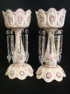 Pair of Handpainted Porcelain Lusters:
