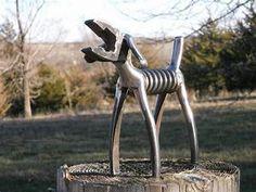 SOLD/REQUEST ORDER/////////Plier Dog Metal Sculpture Klein