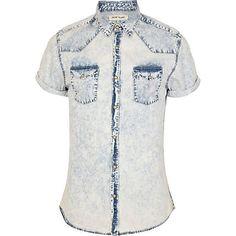 Light acid wash denim shirt - short sleeve shirts - shirts - men $56.00