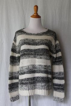 CYNTHIA ROWLEY Gray and cream Ombre Stripe Soft Wool & Mohair Blend Sweater M #CynthiaRowley #ScoopNeck