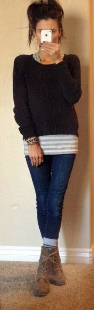 how to wear shorter boots....casual outfit, striped shirt, chunky sweater, skinny jeans, suede boots, lace-up boots
