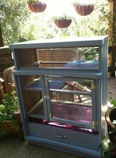 Dresser Bunny Hutch   9 DIY Rabbit Hutch Ideas Using Upcycled Furniture , see more at: http://diyready.com/diy-rabbit-hutch-ideas/