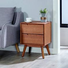 George Oliver Ormond Mid-Century 2 Drawer Nightstand & Reviews | Wayfair Mid Century Modern Bedroom, Mid Century House, 2 Drawer Nightstand, Mid Century Design, Mid-century Modern, Drawers, Furniture, Home Decor, Favorites List