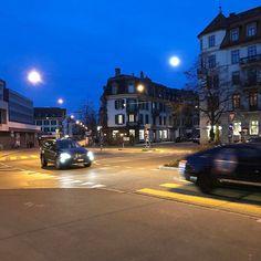#moon #streetlight #cars #sky #night #breitenrain #bern #switzerland