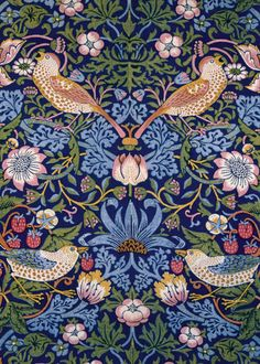 """The Strawberry Thief"" Morris and Co. Tiles from Textiles : William Morris Tile William Morris Wallpaper, William Morris Art, Morris Wallpapers, Motifs Textiles, Textile Patterns, Textile Design, Print Patterns, Floral Patterns, Pattern Art"