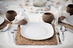 Intimate Bahamas Tropical Beach Wedding By Kristen Weaver Photography Coconut Vodka, Coconut Cups, Coconut Decoration, Beach Wedding Tables, Island Weddings, Beach Weddings, Destination Weddings, Reception Table Decorations, Orlando Wedding Photographer