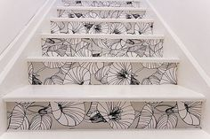 Wallpaper on stair risers.