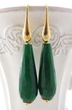 Green Jade Earrings Golden Sterling Silver 925 Dangle Drop Gemstone Jewelry Emerald Gift For Her